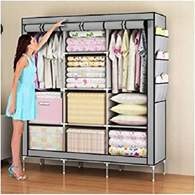 ORRIL Portable Foldable Wardrobe Cabinet with Both Side Pockets (70-inch, Grey)
