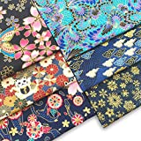 6PCS Japanese Fat Quarter Bundle Cotton Quilting Fabric Flowers/Maneki Lucky Cat/Snowflake/Cloud Butterfly Phoenix Tail Kimono Patchwork Square for Face Masks DIY Art Craft Bag Purse 20x16 Inch