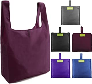 Ripstop Reusable Grocery Bags Set 5, Washable Foldable Shopping Bags,Eco Friendly Reusable Shopping Tote, Light Weight(Grey,Black,Burgandy,Purple,Royal Blue)