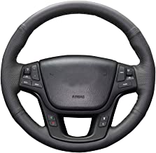 Eiseng DIY Car Steering Wheel Cover for 2011 2012 2013 2014 2015 Kia Sorento SX SXL 4dr SUV / for KIA Cadenza Sedan 2014 2015 2016 Interior Accessories 15 inches Black Genuine Leather Black Thread