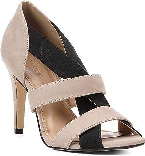 Sandália Couro Shoestock Salto Fino Elástico Feminina