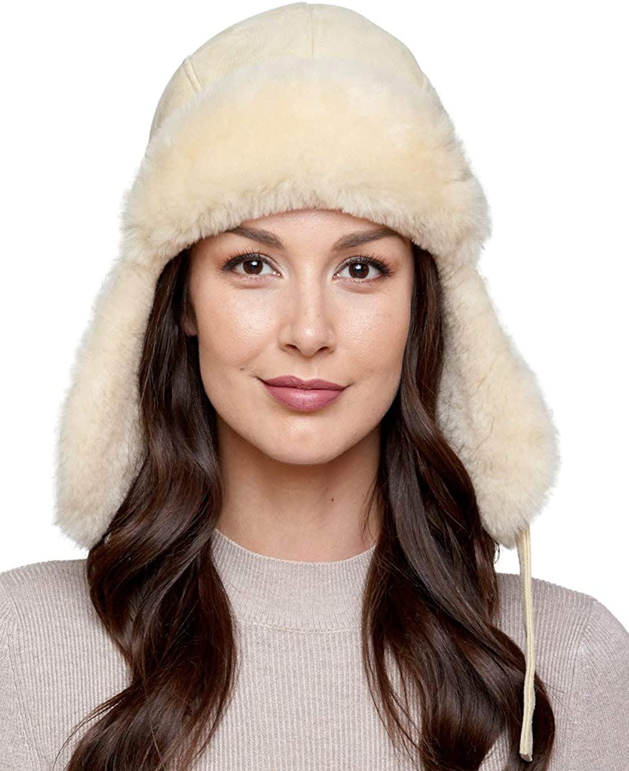 Frr Shearling Sheepskin Pilot Hat in Stone