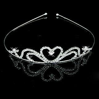Pixnor Partito da sposa damigella d'onore ragazza di fiore cristallo a forma di cuore corona archetto Tiara Wedding