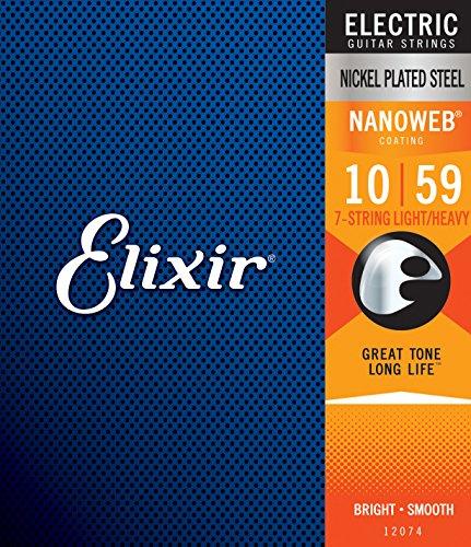 Cuerdas para guitarra eléctrica de 7 cuerdas Elixir Strings con recubrimiento NANOWEB,...