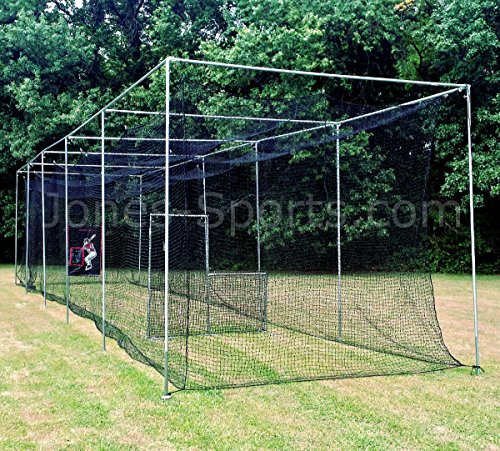 Jones Sports 42PLY Medium Duty #24 Batting CAGE with Frame KIT for Baseball, Softball, Backyard Sports (10 X 12 X 30)