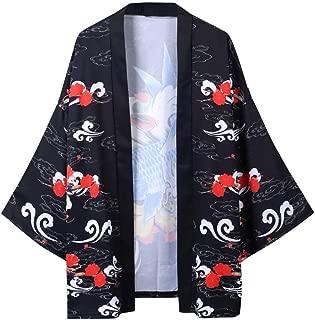 TIFENNY Vintage Robe for Men Fashion Robe Loose National Print Style Half Sleeve Cardigan Jacket Tops