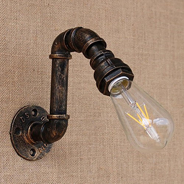 HEYUN Bügeleisen Wasser Rohr Vintage Loft Wand Lampe Bett mit Edison   LED Birne e27 Lichter [Energiestufe A ++] ( Stil   A )