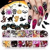 EBANKU 1 Box Halloween Nail Art Glitter...