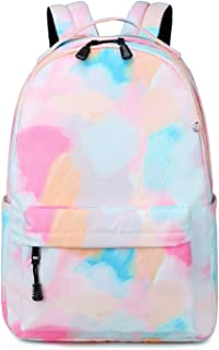 School Backpack for Teens Girls Boys Kids School Book bag fit 15 inch Laptop Travel Daypack (Tie Dye Pink)