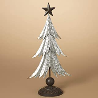 16 Inch Antique Silver Metal Christmas Tree with Bronze Star - Tabletop Holiday Decoration