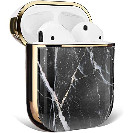 MK Unique Marble Case for AirPods Case Accessories Shockproof Protective Cover Hard Shell Case and Gold Dust Guard 2in1 Compatible with Airpods 1 & AirPods 2 Charging Case (Black Marble)