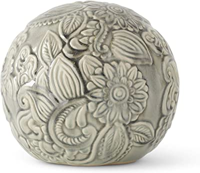 K&K Interiors 15447A-2 5.5 Inch Gray Ceramic Art Deco Style Tabletop Sphere
