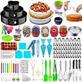 Cake Decorating Supplies,480 PCS Cake Decorating Kit 3 Packs Springform Cake Pans, Cake Rotating Turntable,48 Piping Icing Tips,7 Russian Nozzles, Baking Supplies,Cupcake Decorating Kit