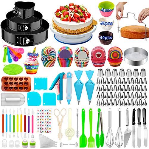 Cake Decorating Supplies,480 PCS Cake Decorating Kit 3 Packs Springform Cake Pans, Cake Rotating Turntable,48 Piping Icing Tips,7 Russian Nozzles, Baking Supplies,Cupcake Decorating Kit