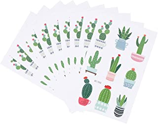 Amosfun 10 Sheets Temporary Tattoos Cute Cactus Plants Pattern Waterproof Fake Body Stickers for Kids Birthday Hawaiian Party Favors Supplies