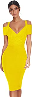 Meilun Women's Rayon V Neck Bandage Clubwear Party Bodycon Dress