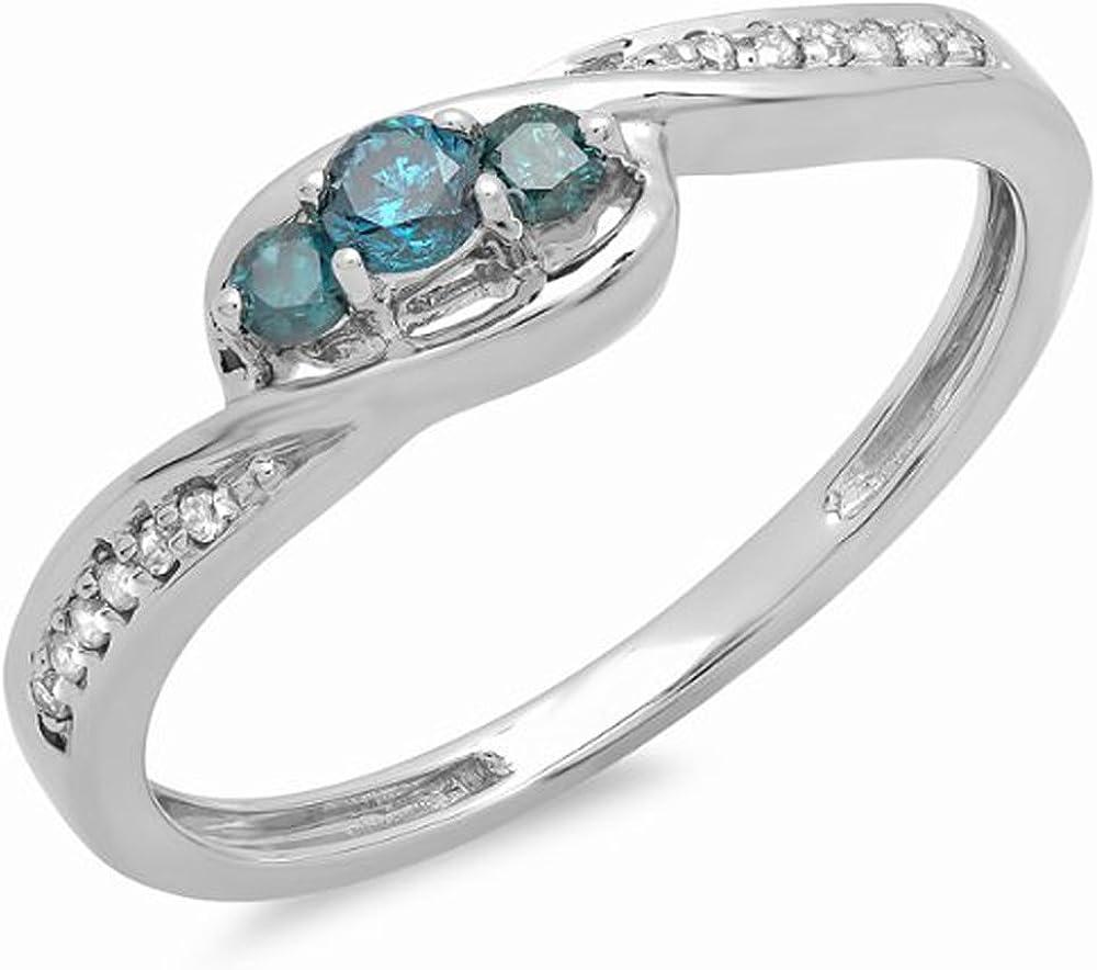 Dazzlingrock Collection 0.25 Carat (ctw) 14k Round Blue & White Diamond Ladies 3 Stone Engagement Promise Ring 1/4 CT, White Gold