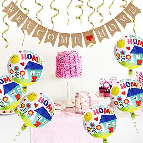 DECARETA Welcome Home Banner 2.8M Lang Willkommen Home Girlande mit 12 STK Wimpeln Sackleinen Willkommen Zuhause Banner mit 6 Aluminiumfolie Ballon für Dekoration Familie Party