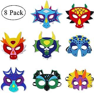 Felt Dragon-Masks for Kids Boys Girls Masquerade Party, Dinosaur Halloween Dress Up Dino Birthday Party Favors, 8 Pack