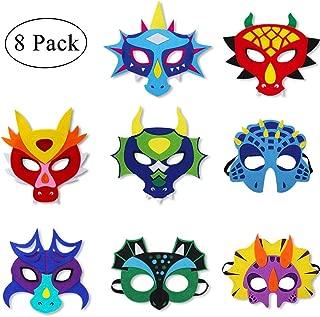 Felt Dragon-Masks for Kids-Boys Girls Dinosaur Dress Up Birthday Party, 8 Pack