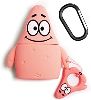 Airpods Case, Alquar Cartoon Airpods Cover Soft Silicone Rechargeable Headphone case for Apple AirPods 1st/2nd, Shockproof, Anti-Fall and Dustproof Protective Cover (Patrick Star)