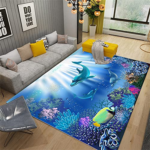 EUYXCRV Alfombra Ocean World 3D, Alfombra para Dormitorio, Alfombra para Sala De Estar, Habitación para Niños Alfombra Soft Crystal Velvet Blue 160 x 230 cm