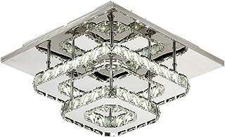 LED de Luz de Techo, Lámparas de Cristal, Acero inoxidable Cristal Lámpara Montaje en el techo para el dormitorio Comedor Pasillo 30cm 36W (blanca fría)