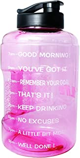 QuiFit Gallon Water Bottle with Motivational Time Marker BPA-Free Reusable Sport Fitness Water Jug Wide Mouth Opening Easy to Fill,128/83 Ounce for Measuring Your Daily Water Intake