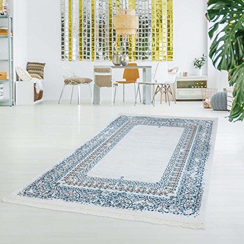 myshop24h bedrukt tapijt wasbaar klassiek vintage ornament Oosterse polyester vlakke pool blauw crème 130x190cm crème