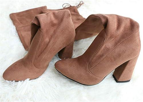ZHRUI Frauen Stiefel Flock Leder Overknee Schnüren Schnüren Schnüren High Heels Schuhe Winterstiefel (Farbe   Tuose, Größe   6=39 EU)  bekannte Marke