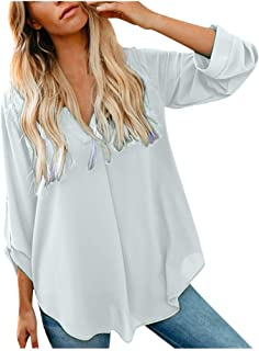 T Shirts for Women,Women's Fashion Casual Long Sleeve Elegant V-Neck Solid Loose Chiffon Top Blouse