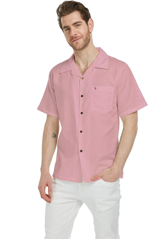 ※ラッピング ※ 爆買い新作 Men's Hawaiian Luau Embrodiered Linen Shirt Flamingo Cotton