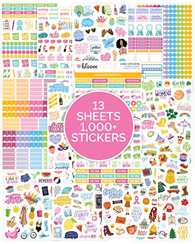 bloom daily planners Planner Sticker Value Pack 13 Unique Sheets  1000 Stickers - New Variety Assortment Bundle for Planning Decorating
