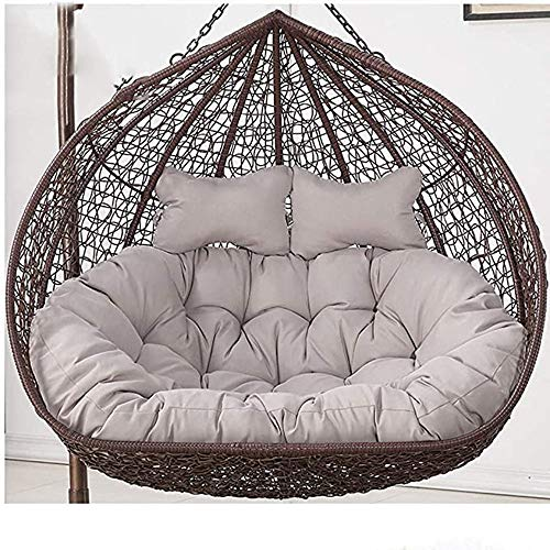 HIGHKAS Outdoor Swing Chair Cushion 2 People Hanging Egg Hammock Chair Pads for Garden Patio Rattan Chair Pad- Gray(Not Include Hanging Basket)