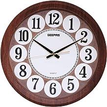 ساعة جدارية طراز GWC4803 من جيباس، باللونين الابيض والبني، بطارية AA، من الخشب