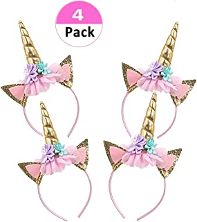 Lemoncy 4 Pack Gold Horn Headband Ears Photo Props Girl Birthday Outfit Squishy Cheeks Gold Glitter Horn Headband Flowers Headwear Accessory for Party Decoration Cosplay Costume