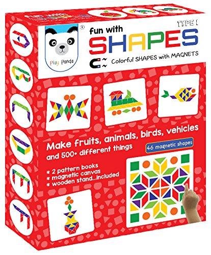 Play Panda Fun Magnetic Shapes (Senior) : Type 1 with 44 Magnetic Shapes, 200 Pattern Book, Magnetic Board and Display Stand