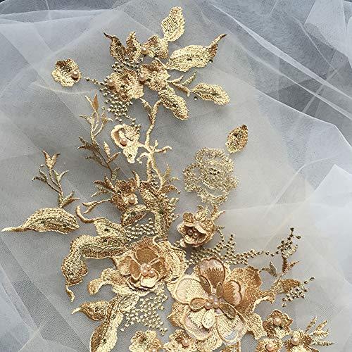 QLING Bordado 3D con cuentas de encaje apliques florales de diamantes de...