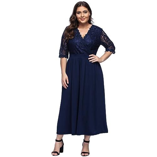 4df6da2793 Women s Plus Size V-Neckline Floral Lace Top Dress Cocktail Party Swing  Dress