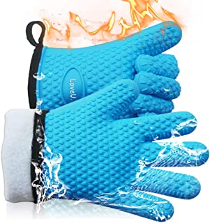 Loveuing Kitchen Oven Gloves - Silicone and Cotton Double-Layer Heat Resistant Oven Mitts/BBQ Gloves/Grill Gloves - Perfec...
