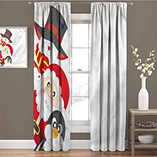 GUUVOR Christmas All Season Insulation Happy Santa Penguin Noise Reduction Curtain Panel Living Room W84 x L96 Inch
