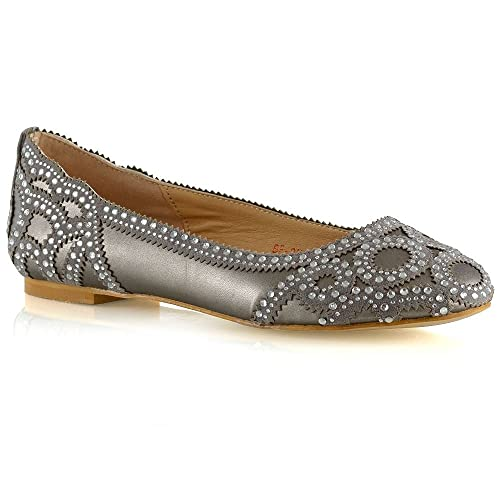 16425966d76 ESSEX GLAM New Womens Bridal Pumps Shoes Ladies Diamante Party Slip On Flat  Courts Size 3