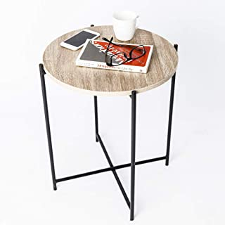 C-Hopetree Side Table Small Round Occasional Accent End Coffee Table for Living Room, Industrial Vintage Wood Look, Black Metal Frame