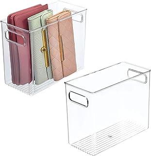 mDesign boite de rangement en plastique à poignées intégrées (lot de 2) – caisse rangement au design attrayant – boite de ...