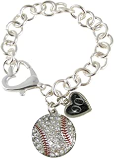 Sports Accessory Store Custom Jersey Baseball Player Silver Heart Clasp Bracelet You Choose #00-99 Numbers Available
