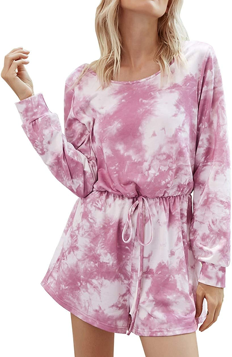 Free shipping anywhere in the nation Bxwoum Women's Tie Dye Printed Long Pajamas Kansas City Mall Set Sleeve Tops
