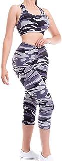 MixMatchy Women's Sports Gym Yoga Workout Activewear Sets Tank Crop Top & Capri Leggings Set