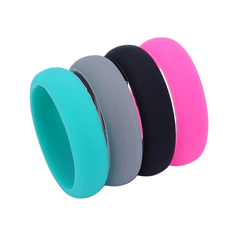 HooAMI Silicone Ring Wedding Band for Women - 4 Pack