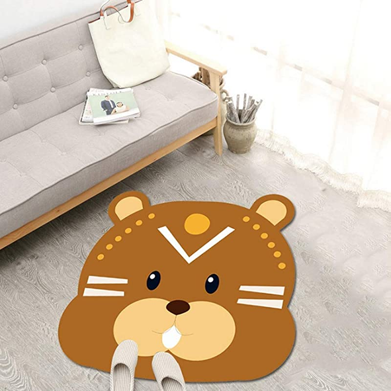 JIFAN Child Cartoon Game Pad Baby Crawling Mat Girl Room Decoration Rug Children Rug With Animals Household Crystal Velvet Non Slip Carpet For Playroom Classroom Preschool Kindergarten Nursery