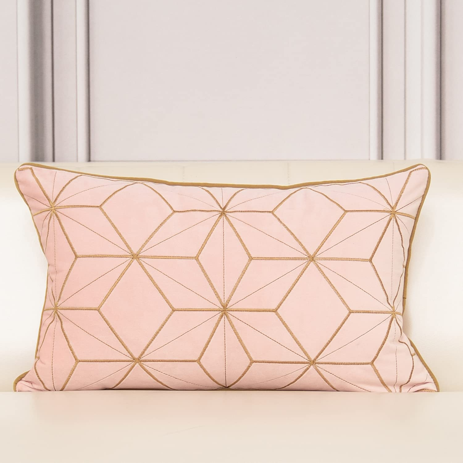 Aeckself 12 x Spasm price 20 Inch Pink Geometric Embroidery Plaid Gold Al sold out. Lines